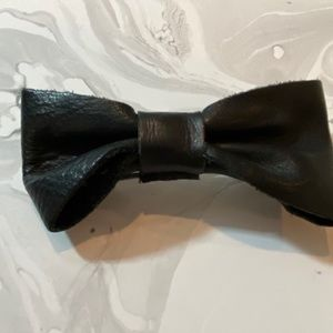 American Apparel Black Leather Hair Bow Clip
